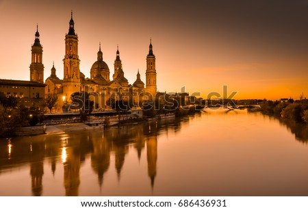 View of the basilica of Our Lady of Pilar at sunset #686436931