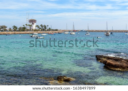 View of the bay and Puerto Portals marina resort located on the south-west coast of Majorca. Balearic islands, Spain