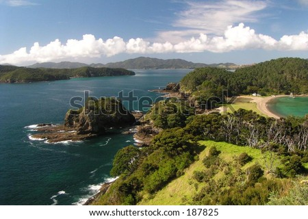 View of the Bay of Islands in northern New Zealand from a top one of the islands.