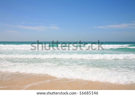 View of the beach and Persian Gulf at Jumeirah, Dubai