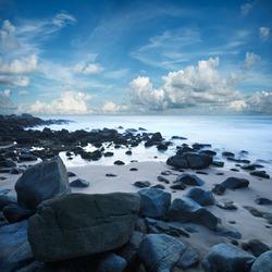 View of the beach at Singh cape. Phuket island, Thailand. Long exposure shot.