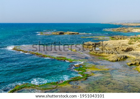 View of the beach, coves and sandstone cliffs in Dor beach, Northern Israel Stockfoto ©