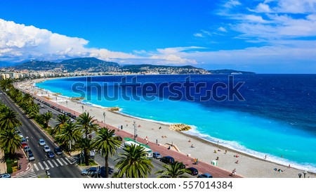 View of the beach in the city of Nice, France hdr