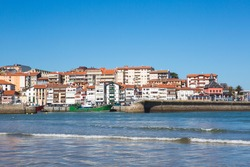 View of the beach of Lekeitio with clear blue sky, Vizcaya, Basque Country, Spain
