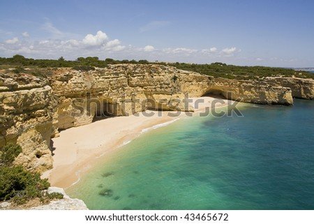 "View of the beautiful beach ""Praia da Marinha"" located on the Algarve, Portugal."