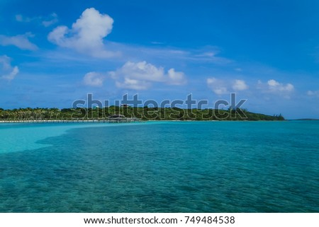View of the beautiful Caribbean Sea and blue sky from Long Dock, Cherokee Sound, Marsh Harbour, The Bahamas #749484538
