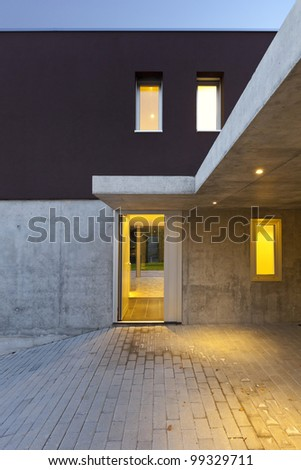 view of the beautiful modern house by night, entry