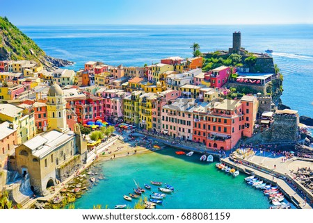 View of the beautiful seaside of Vernazza village in summer in the Cinque Terre area, Italy.