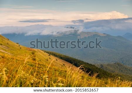 View of the Bieszczadzkie peak from Połonina Caryńska, Bieszczadzki National Park, Wetlina  Zdjęcia stock ©