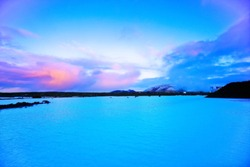 View of the Blue Lagoon at dusk in Iceland.