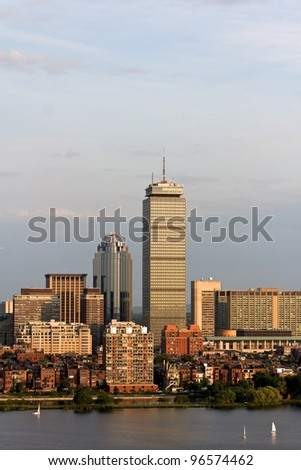 View of the Boston, MA Skyline of Back Bay, including the landmark Prudential Tower. Seen from near Kendall/MIT across the Charles river in Cambridge, MA.