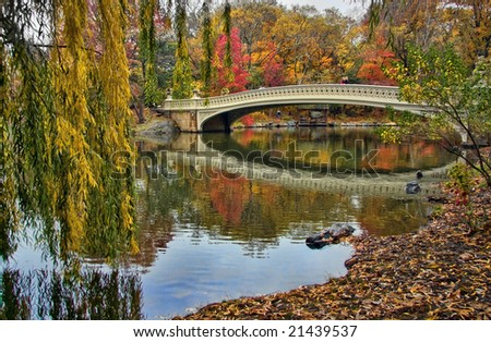 View of the Bow Bridge in New York City's Central Park.