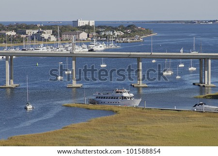 View of the bridge and boats and marina of Charleston, South Carolina - stock photo