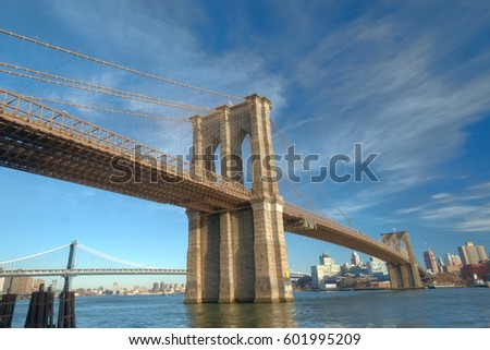 View of the Brooklyn Bridge from the Manhattan Side, New York City #601995209