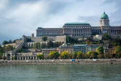 View of the Buda Fortress and the Royal Garden Bazaar. View from the opposite side of the Danube