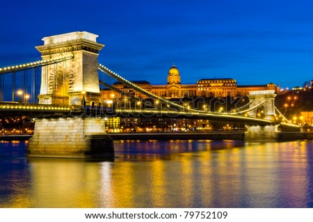 View of the Budapest Chain Bridge at Night.