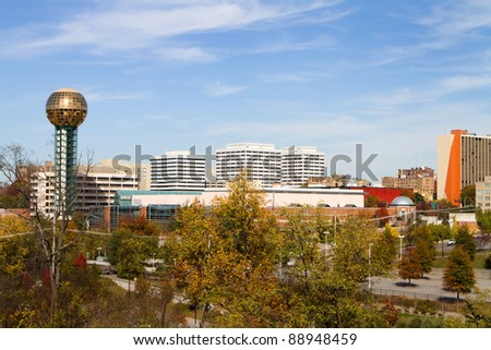 View of the buildings in the Knoxville, Tennessee skyline.