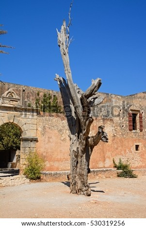 View of the bullet tree with the entrance to the refectory courtyard to the rear at Arkadi Monastery, Arkadi, Crete, Greece, Europe. #530319256