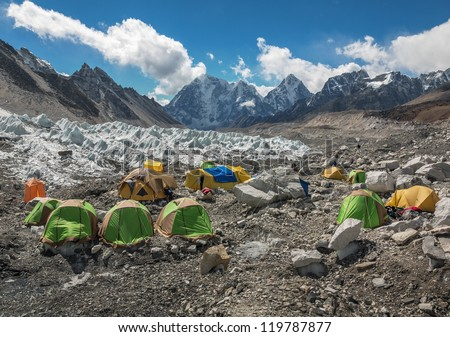View of the camp of climbers on Khumbu glacier near EBC - Nepal, Himalayas