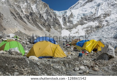 View of the camp of climbers on Khumbu glacier near legendary place EBC - Nepal, Himalayas