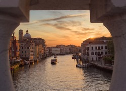 View of the canal in the morning at dawn. Venice, Italy.