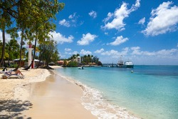 View of the Caribbean island of Martinique in French Polynesia. The Martinique coast with turquoise water, palm trees and a gorgeous beach, a yacht is moored by the beach.
