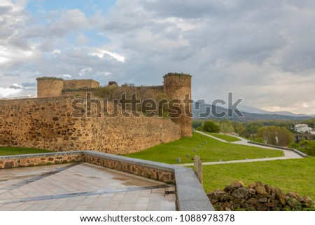View of the castle of the city of El Barco or Valdecorneja castle built in the 12th century and rebuilt in the 15th century. Community of Castilla la Mancha. Spain Stock photo ©