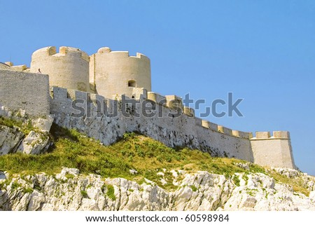 View of the castle on the Mediterranean Sea island Chateau d'If of below