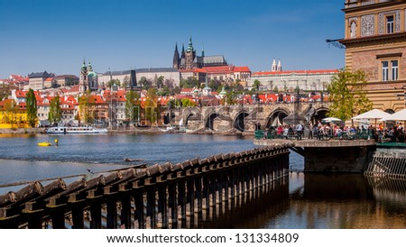 View of the Cathedral of St. Vitus, Charles bridge (Karluv most), the Vltava River, Prague, Czech Republic. - stock photo