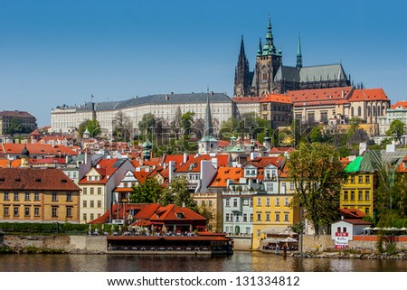 View of the Cathedral of St. Vitus, the Vltava River, Prague, Czech Republic.