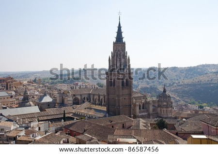 view of the cathedral of Toledo, Spain