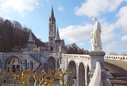 View of the cathedral-sanctuary of Lourdes (France)