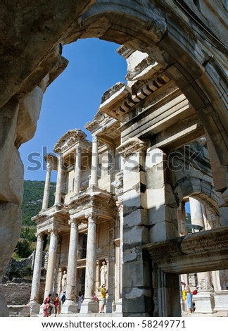 View of the Celsus Library through the Gate of Maszeus and Mythridates in Efesus, Turkey
