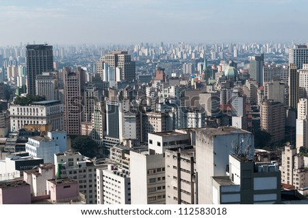 View of the central region of Sao Paulo, near the cathedral se.