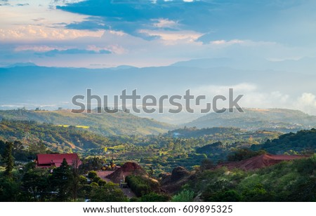 View of the central valley of Costa Rica, area close to the capital - city of San Jose.