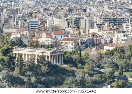 View of the centre of Athens as seen from Areopagus or Mars Hill with the temple of Hephaistos (also known as Thissio or Theseion) as the focal point, Greece.