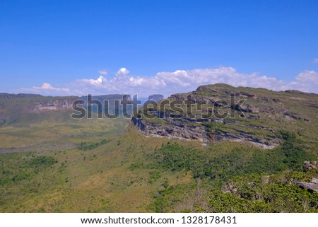 View of the Chapada Diamantina landscape in the Vale Do Capao valley, with the Morro Do Morrao mountain, view from Morro Do Pai Inacio, Chapada Diamantina National Park, Bahia, Brazil, South America