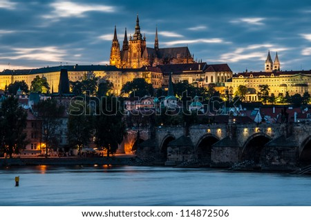 View of the Charles Bridge and Castle in Prague in the evening
