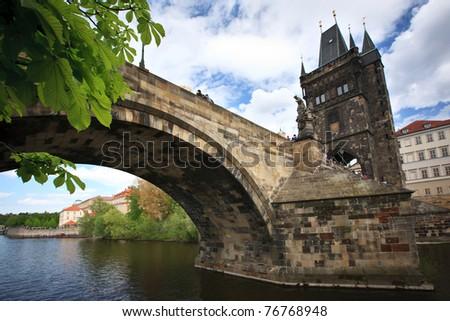 View of the Charles Bridge in Prague, Czech republic #76768948