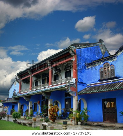 View of the chinese blue mansion under a cloudy sky, Penang, Malaysia