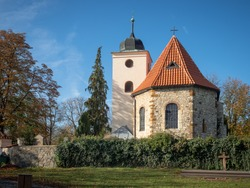 View of the christian church of St. Clement in Levy Hradec, Czech Republic. The first christian church in Bohemia built in 9th century located  northwest of Prague in the historic settlement