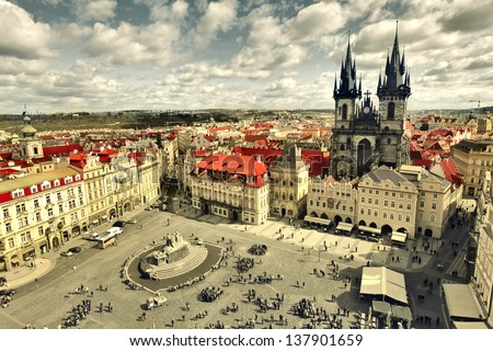 view of the church of Saint Mary of Tyn in Prague Stock photo ©