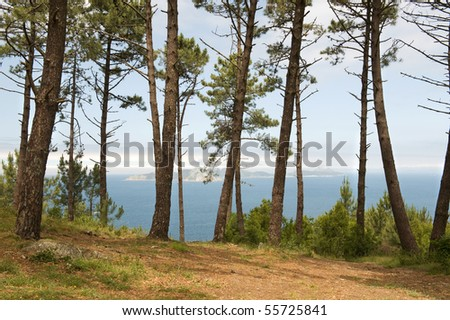 View of the Cies Islands off the Pontevedra Coast Galicia Spain