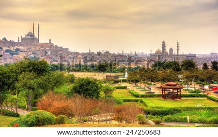 View of the Citadel with Muhammad Ali Mosque from Al-Azhar Park - Cairo, Egypt