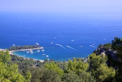 View of the city and the beach from Bayraktepe in Kemer, Antalya.