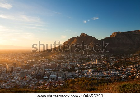 View of the City Cape Town in the Early Morning (South Africa)
