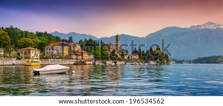 View of the city Mezzegra, Via Statale, Tremezzo CO, Alps, Italy. Colorful evening on the Como lake, Geolocation 45.982351,9.219718