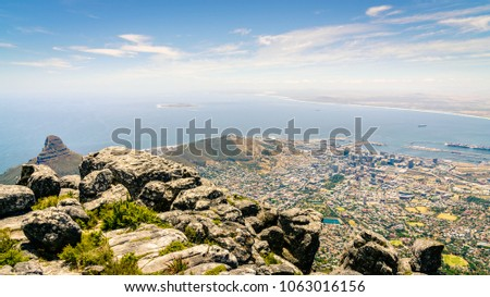 View of the city of Cape Town the Atlantic coast from Table Mountain