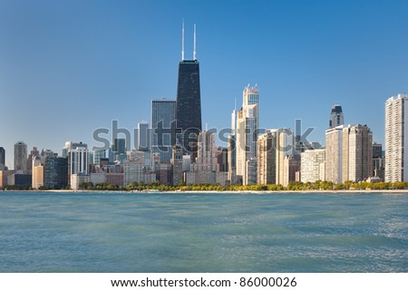 View of the city of Chicago from Lake Michigan