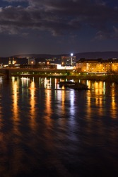 View of the city of Koblenz, Germany, at night